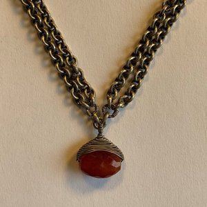 Sterling Silver Handmade Necklace Carnelian